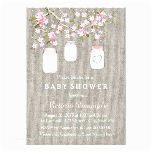 Mason Jar Baby Shower Invitations Burlap Mason Jar Baby Shower 4 5x6 25 Paper Invitation