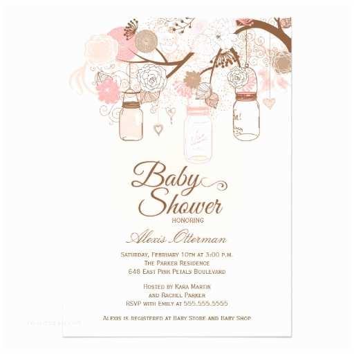 "Mason Jar Baby Shower Invitations Chic Pink Mason Jar Floral Baby Shower Invitation 5"" X 7"