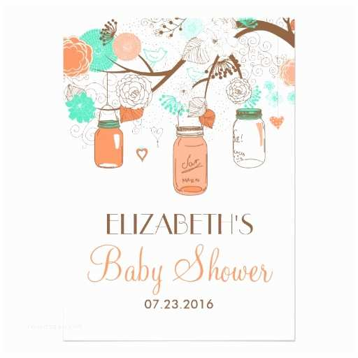 Mason Jar Baby Shower Invitations Coral & Aqua Mason Jars Baby Shower Invitation