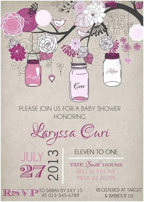 Mason Jar Baby Shower Invitations Girls Baby Shower Invitation Mason Jar Purple Gray