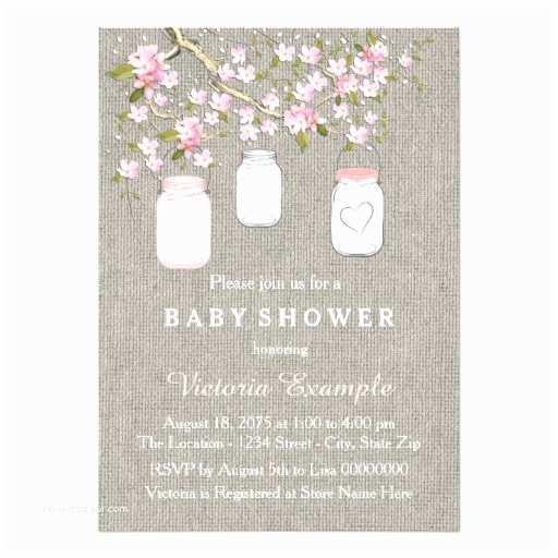 Mason Jar Baby Shower Invitations Girls Burlap Baby Shower Card