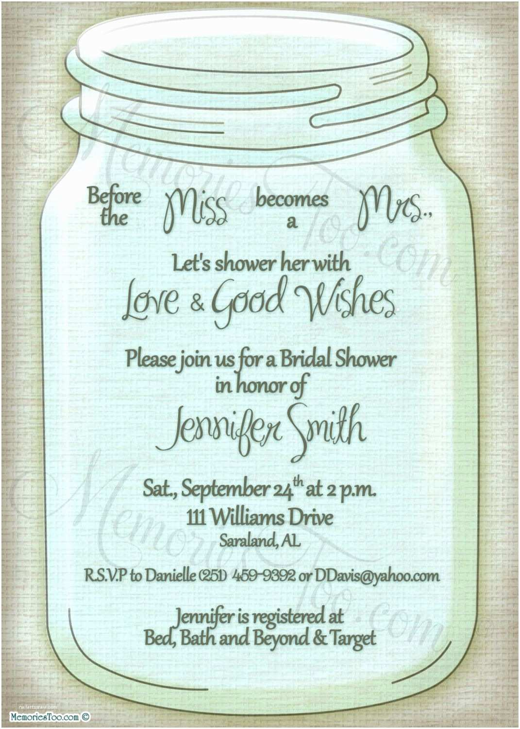 Mason Jar Baby Shower Invitations Mason Ball Jar Invitation Diy Printable Choose Your by