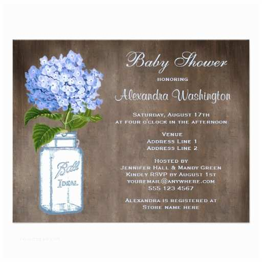 Mason Jar Baby Shower Invitations Mason Jar & Blue Hydrangea Rustic Baby Shower 4 25x5 5