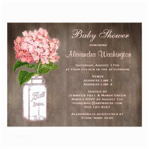 Mason Jar Baby Shower Invitations Mason Jar & Pink Hydrangea Rustic Baby Shower 4 25x5 5