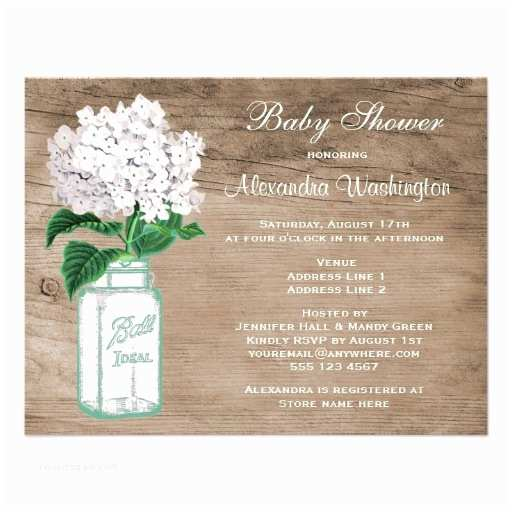 "Mason Jar Baby Shower Invitations Mason Jar & White Hydrangea Rustic Baby Shower 4 25"" X 5 5"