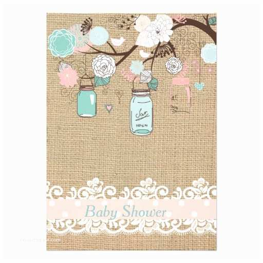 Mason Jar Baby Shower Invitations Mason Jar and Burlap Baby Shower Invitation