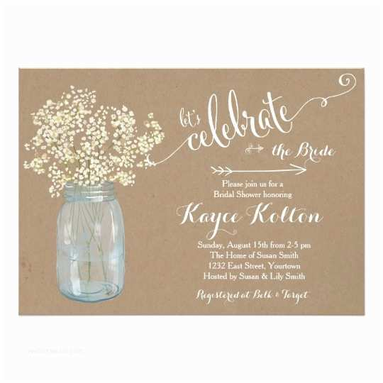 Mason Jar Baby Shower Invitations Mason Jar Baby S Breath Bridal Shower Invitation