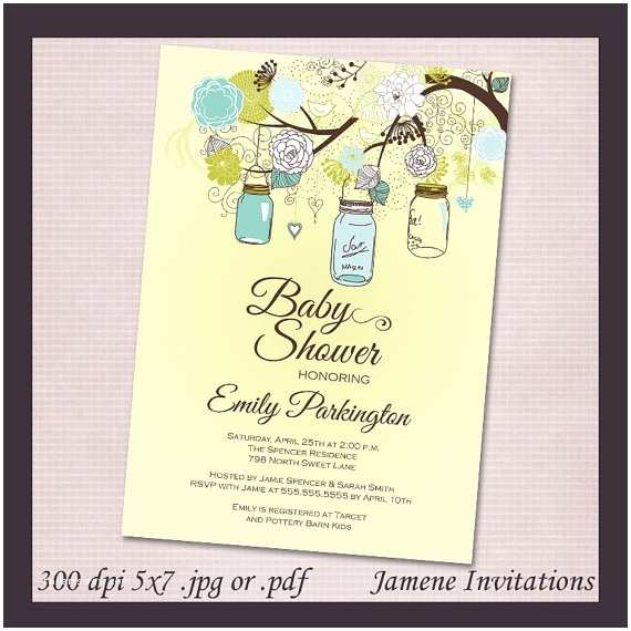 Mason Jar Baby Shower Invitations Mason Jar Baby Shower Girl Boy Digital Invitation