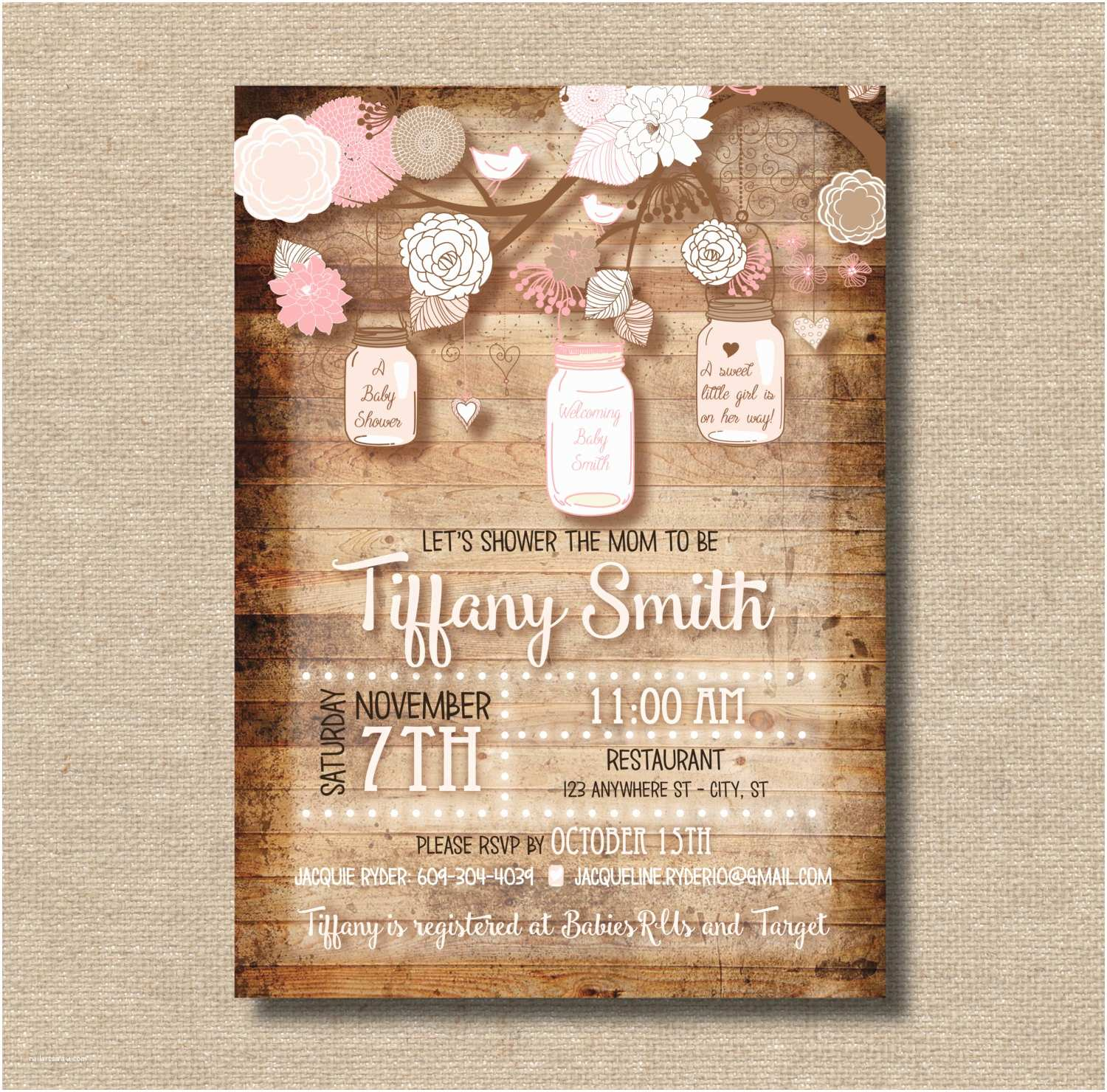 Mason Jar Baby Shower Invitations Mason Jar Baby Shower Invitation Custom Digital Copy