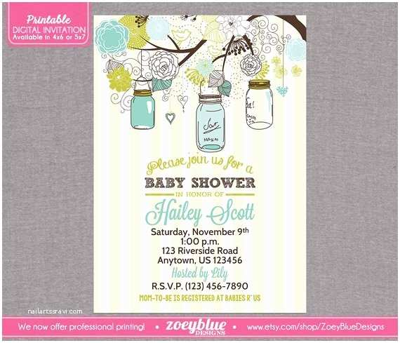 Mason Jar Baby Shower Invitations Mason Jar Baby Shower Invitation Vintage Baby by
