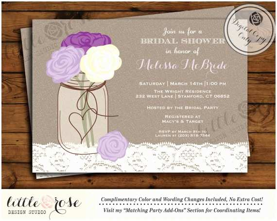 Mason Jar Baby Shower Invitations Mason Jar Bridal Shower Invitation Bridal Shower Invite