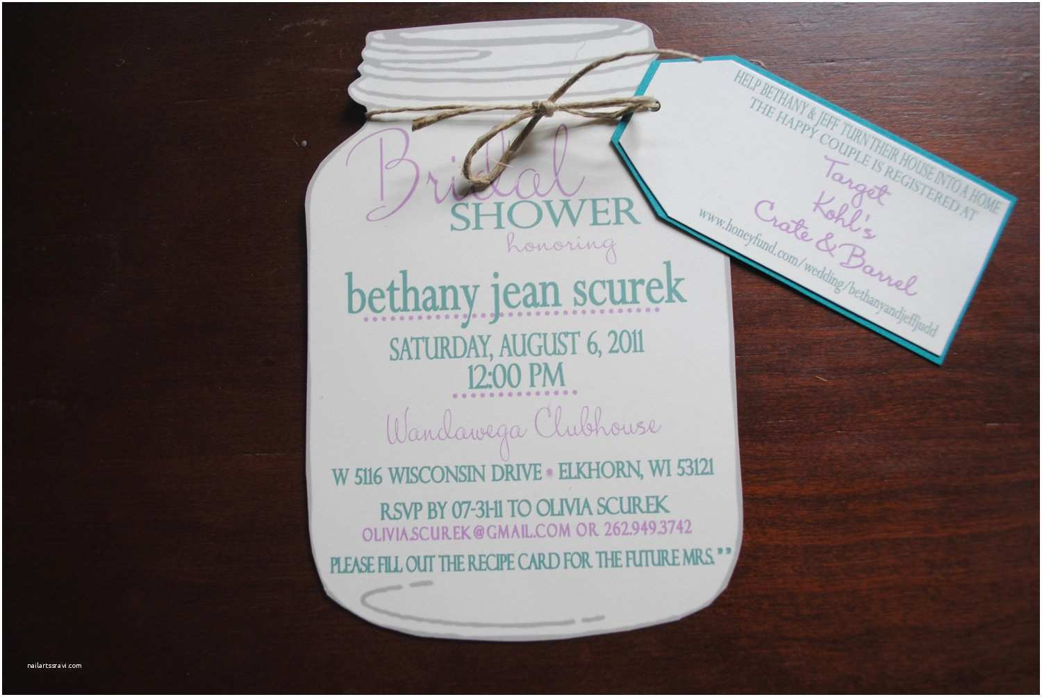 Mason Jar Baby Shower Invitations Mason Jar Bridal Shower Invitations with Registry by