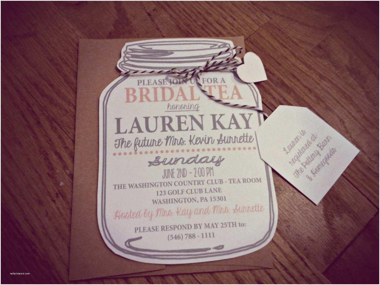 Mason Jar Baby Shower Invitations Mason Jar Bridal Tea Invitation Bridal Shower by Neillydesign