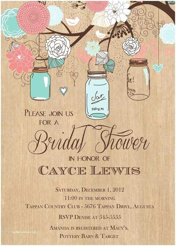 Mason Jar Baby Shower Invitations Mason Jar Invitation Mason Jar Bridal Shower Invitation
