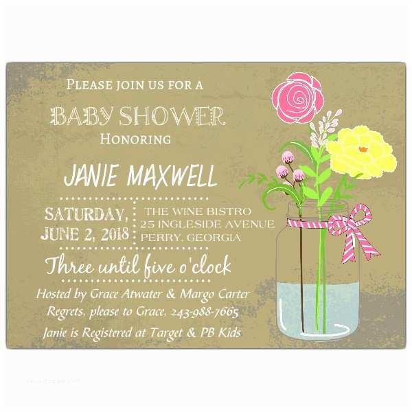 Mason Jar Baby Shower Invitations Mason Jar Pink Baby Shower Invitation