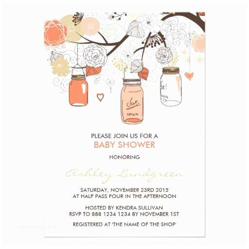"Mason Jar Baby Shower Invitations Peach Mason Jars Spring Baby Shower Invitation 5"" X 7"
