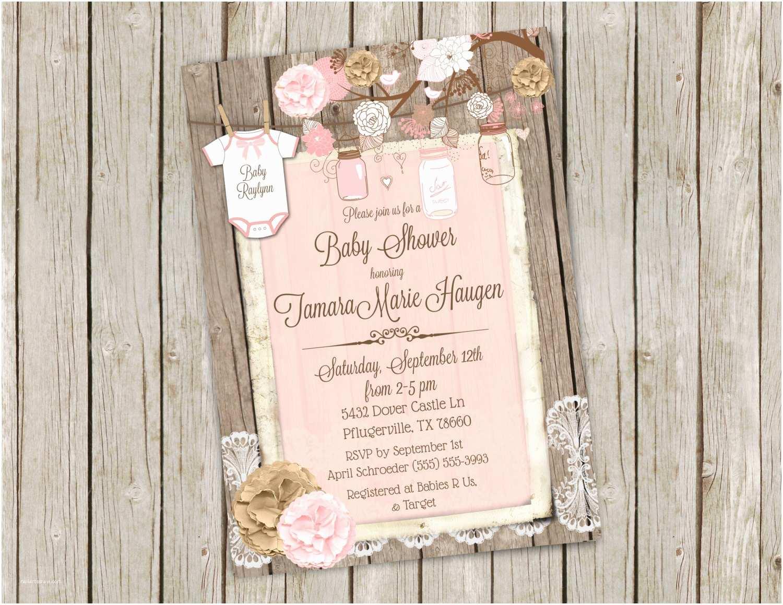 Mason Jar Baby Shower Invitations Pink Mason Jar Baby Shower Invitation Printable 5x7