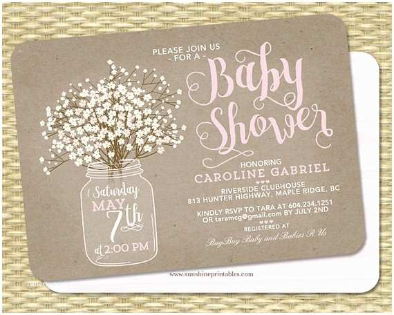Mason Jar Baby Shower Invitations Rustic Baby Shower Invitation Baby Girl Kraft Mason Jar