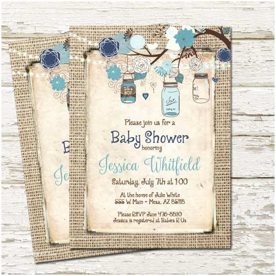 Mason Jar Baby Shower Invitations Rustic Baby Shower Invitation Burlap Invite Mason Jar Boy