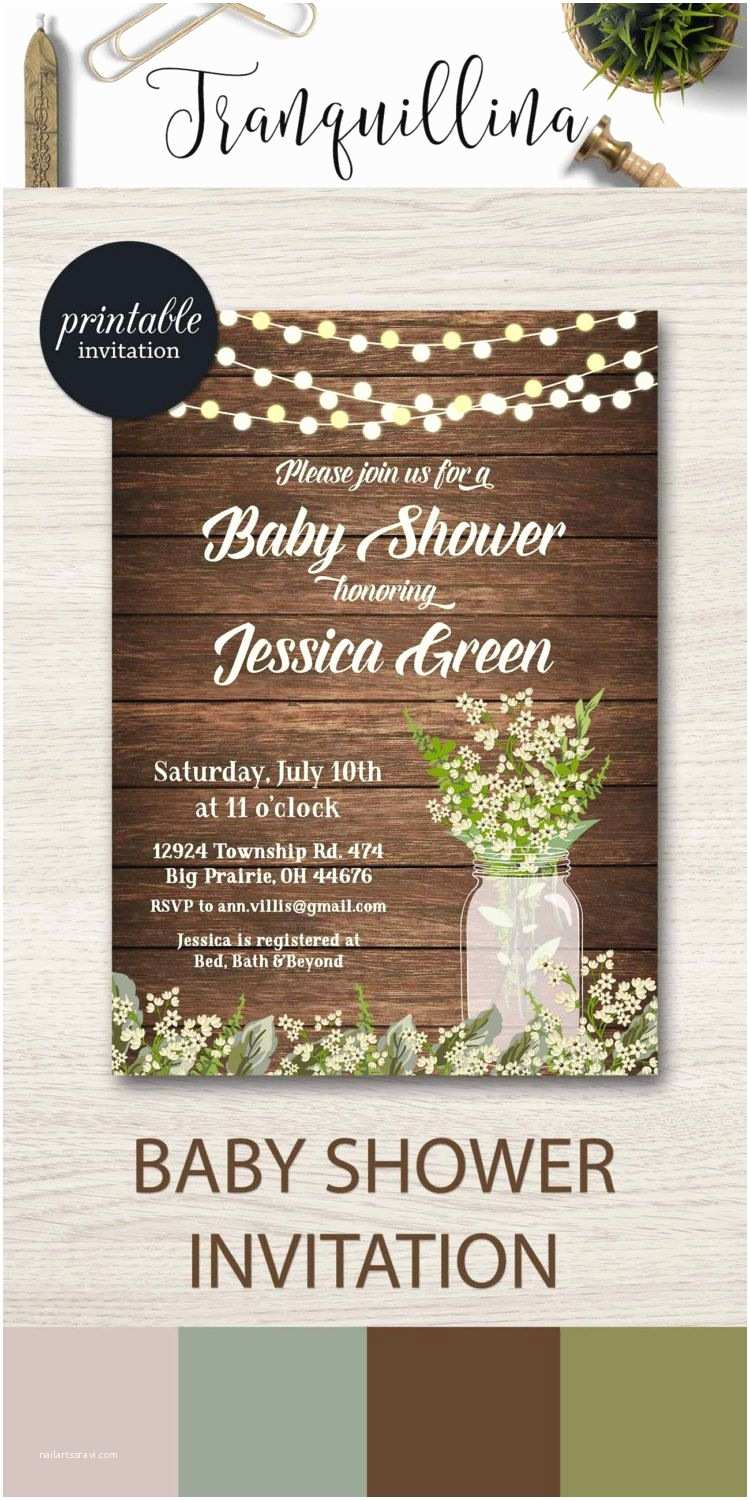 Mason Jar Baby Shower Invitations Rustic Baby Shower Invitation Printable Babys Breath Baby