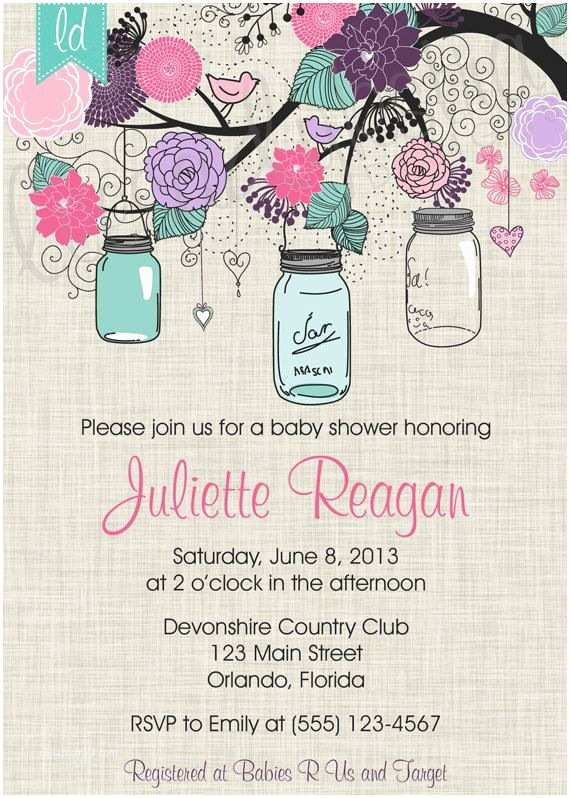 Mason Jar Baby Shower Invitations Sale Mason Jar Invitation Pink Purple by
