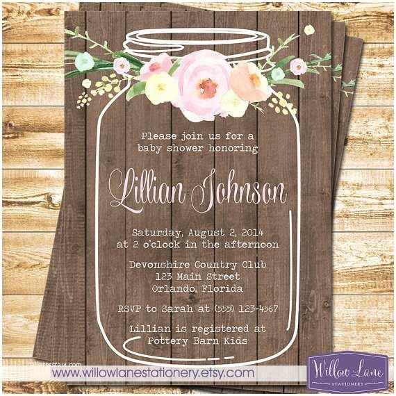 Mason Jar Baby Shower Invitations Watercolor Flower Mason Jar Baby Shower Invitation On Barn