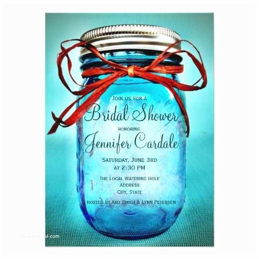 "Mason Jar Bridal Shower Invitations Blue Mason Jar Country Bridal Shower Invitations 4 5"" X 6"