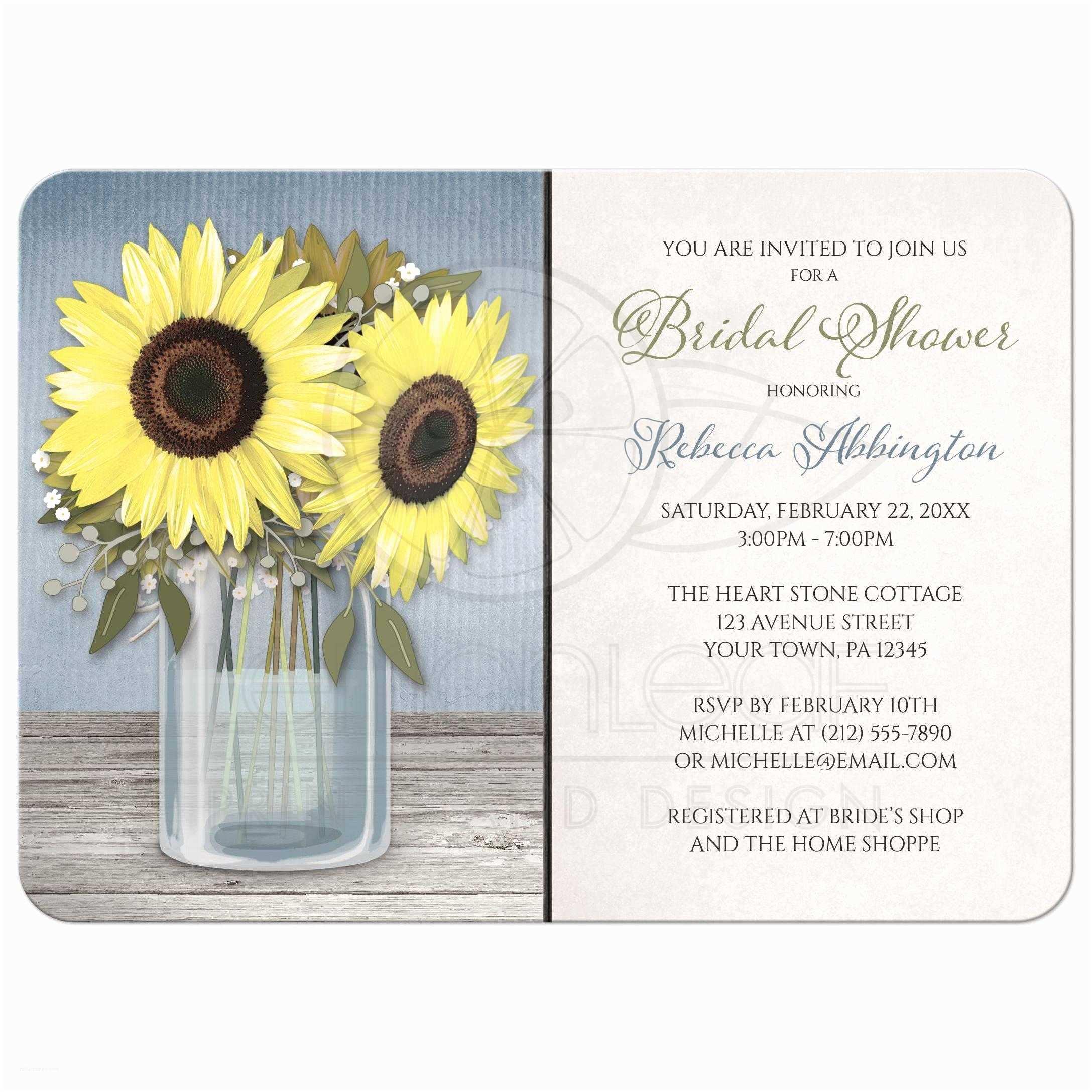Mason Jar Bridal Shower Invitations Bridal Shower Invitations Rustic Sunflower Blue Mason Jar