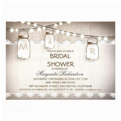 Mason Jar Bridal Shower Invitations Burlap and Mason Jars Bridal Shower Invitations