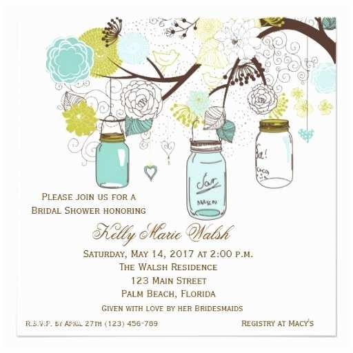 Mason Jar Bridal Shower Invitations Country Rustic Mason Jar Bridal Shower Invites 5 25