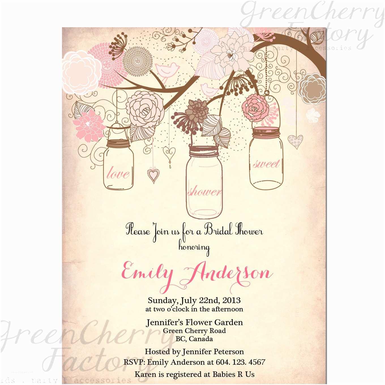 Mason Jar Bridal Shower Invitations Items Similar to Mason Jar Invitation Rustic Bridal