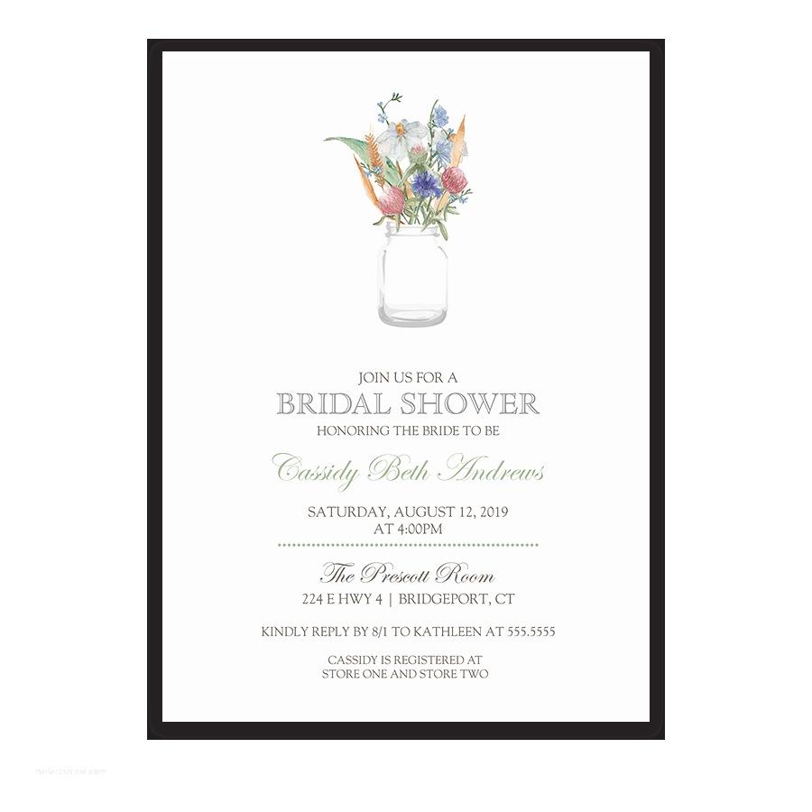 Mason Jar Bridal Shower Invitations Mason Jar with Wildflowers Floral Bridal Shower Invite