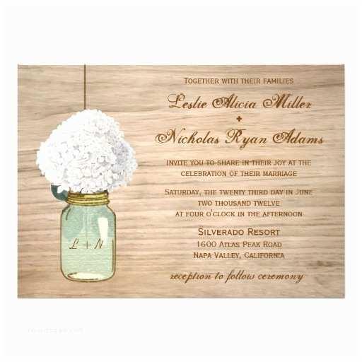 Mason Jar Wedding Invitations Country Rustic Mason Jar Hydrangea Wedding Invitation Card
