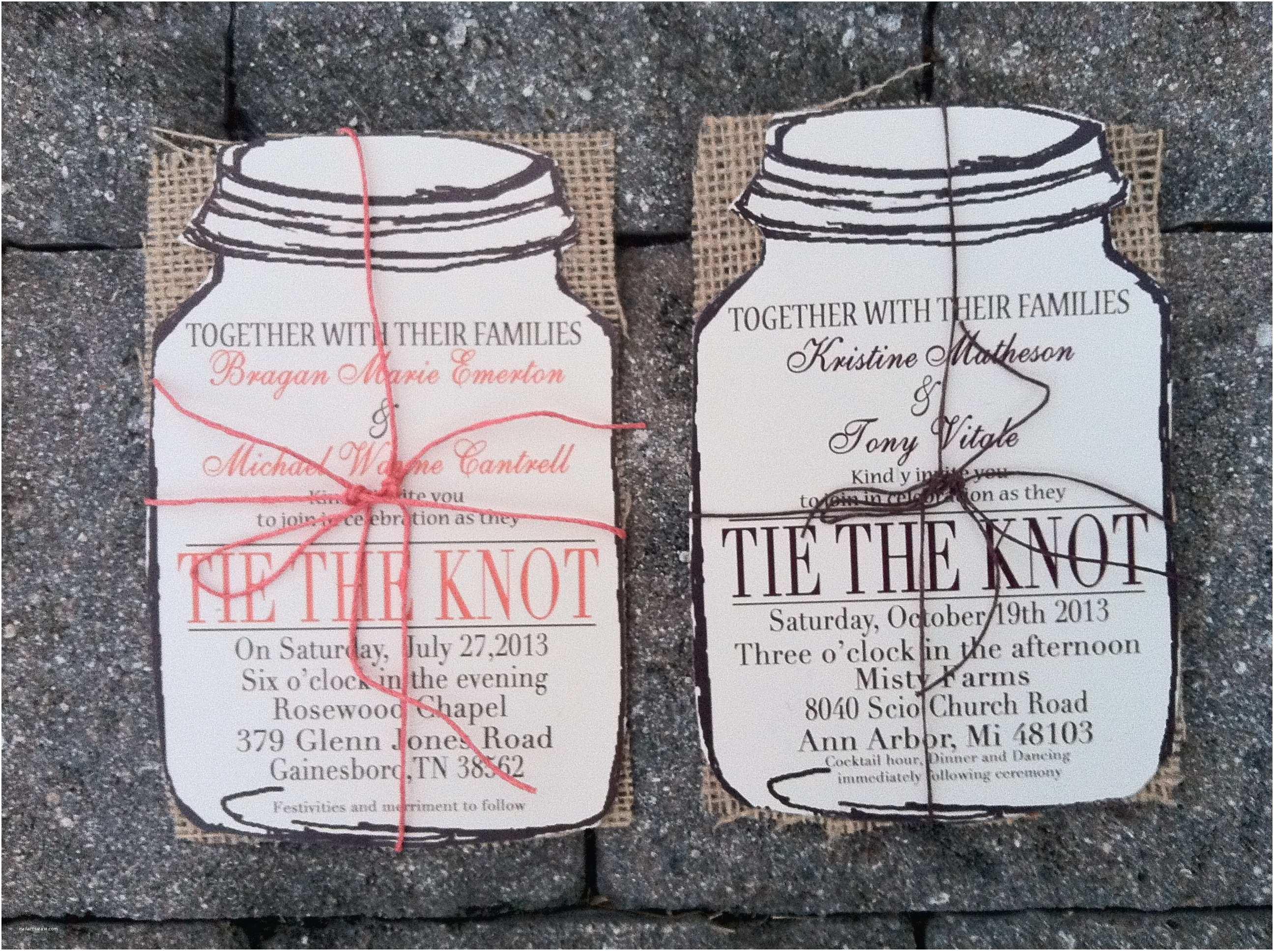 Mason Jar Wedding Invitations Mason Jar