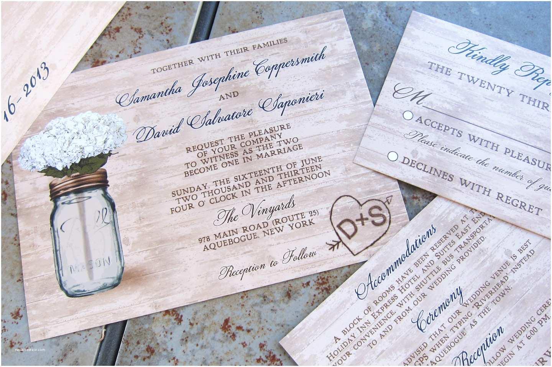 rustic mason jar wedding invitation set