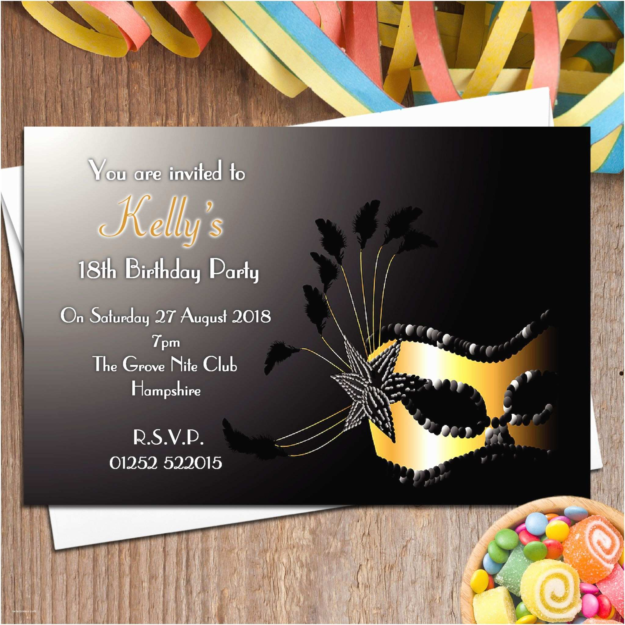 Masquerade Party Invitations 10 Personalised Masquerade Mask Party Invitations N94