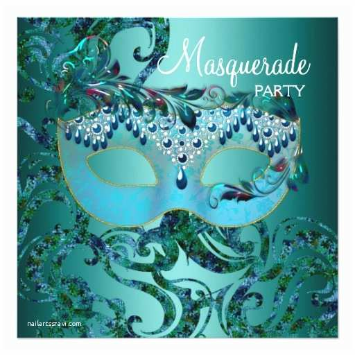 Masquerade Party Invitations Teal Blue Masquerade Party Invitations