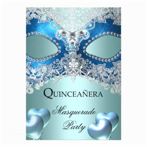 Masquerade Quinceanera Invitations Masquerade Quinceanera 15 Blue Birthday Party 5x7 Paper