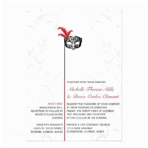 """Masquerade Wedding Invitations Elegant Red Black Masquerade Wedding Invitations 5"""" X 7"""