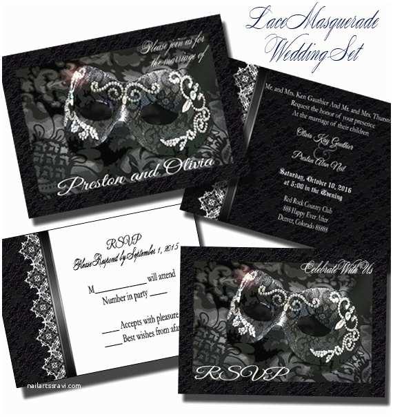 Masquerade Wedding Invitations Lace Masquerade Wedding Invitation Set Wedding Invitation