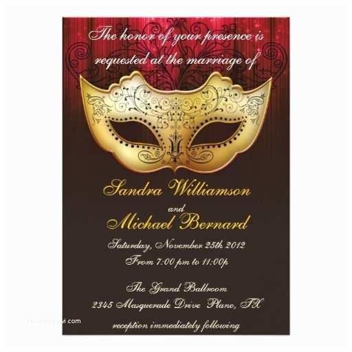 "Masquerade Wedding Invitations Masquerade Wedding Celebration Fancy Invitation 5"" X 7"