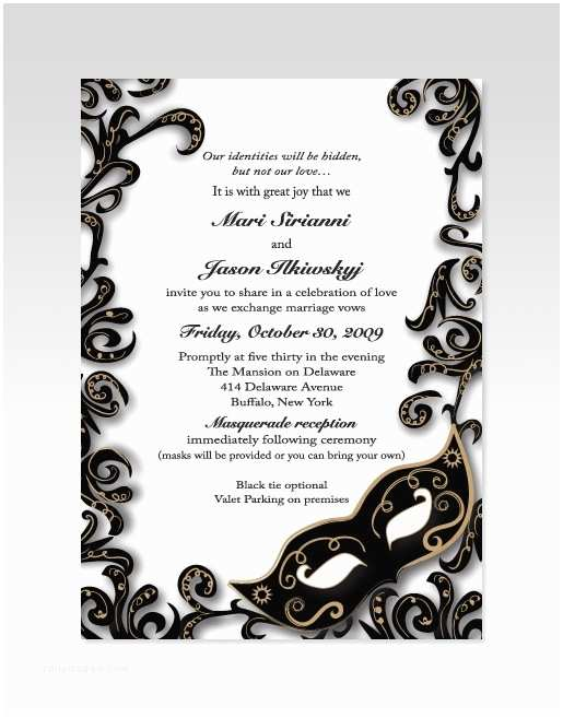 Masquerade Wedding Invitations Masquerade Wedding Invitation
