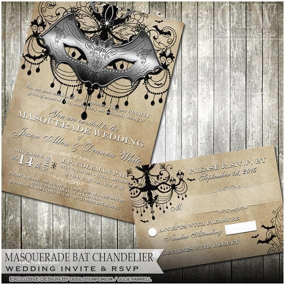 Masquerade Wedding Invitations Masquerade Wedding Invitation Rustic Wedding Invite Halloween