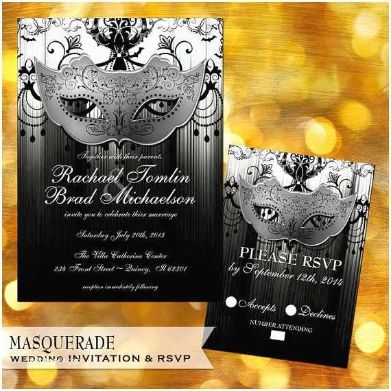 Masquerade Wedding Invitations Masquerade Wedding Invitation Set Masquerade Ball Black and