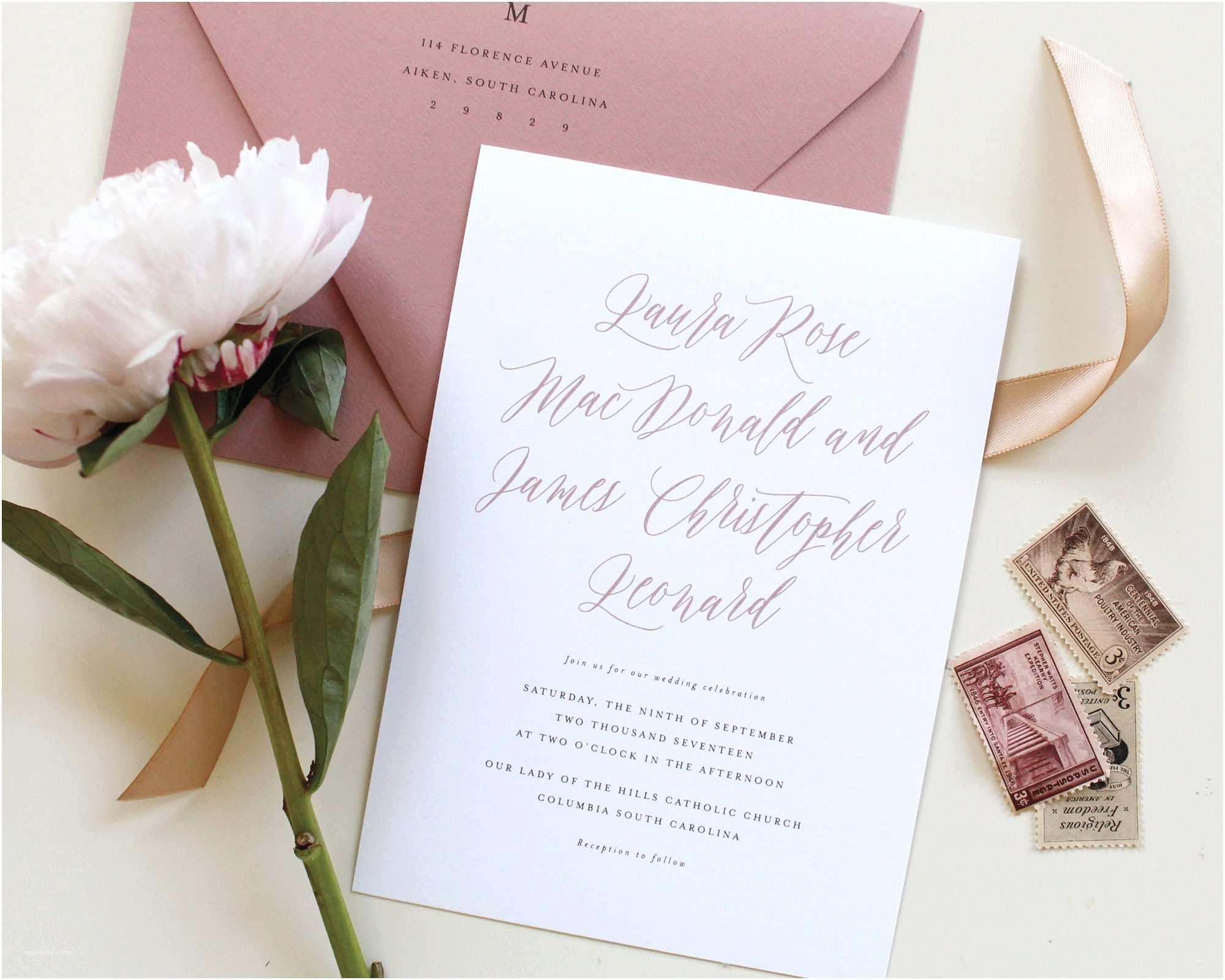 Mauve Wedding Invitations Dusty Rose Wedding Invitations