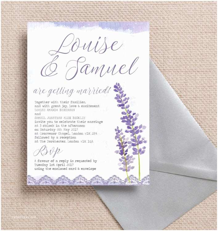 Mauve Wedding Invitations Lilac & Lavender Wedding Invitation From £1 00