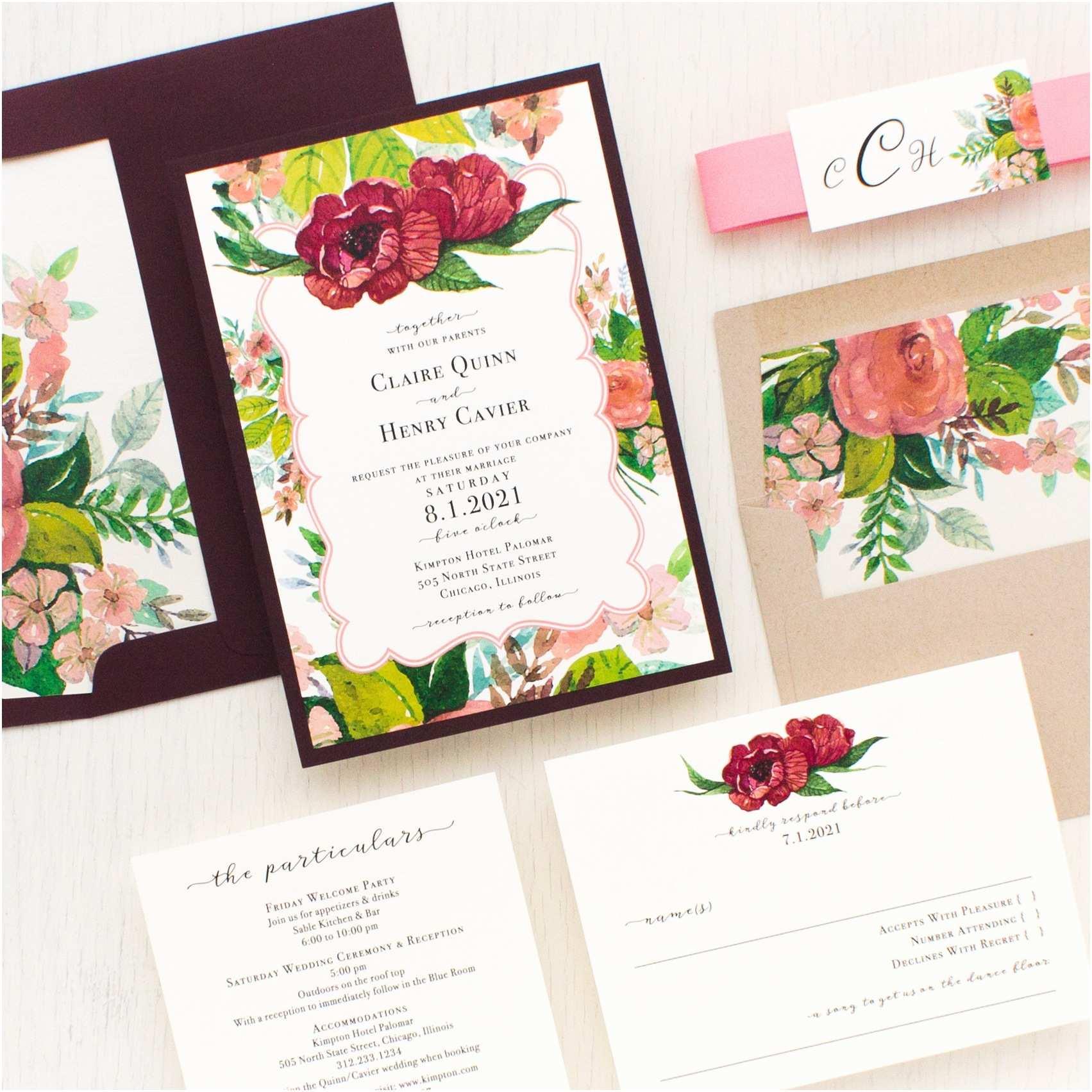 Mauve Wedding Invitations Mauve Floral Wedding Invitations