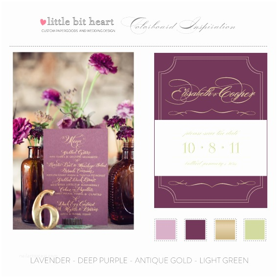 Mauve Wedding Invitations Plum Purple And Gold Wedding Invitation