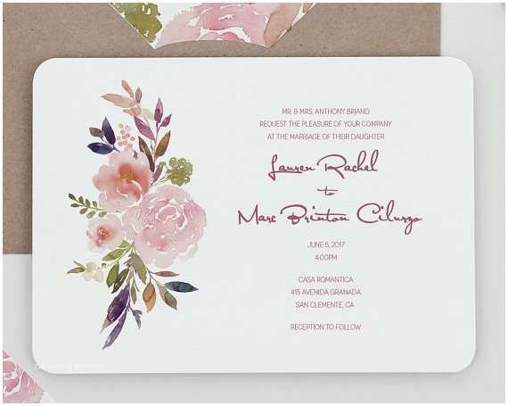 Mauve Wedding Invitations Rustic Modern Floral Wedding Invitationsrustic Mauve and