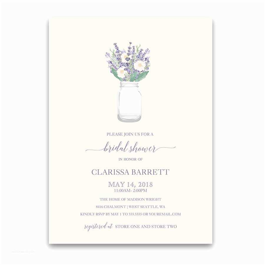 Mauve Wedding Invitations Wedding Shower Invitations Rustic Lavender Mason Jar